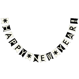 HAPPY NEW YEAR BLACK AND IVORY WHITE BUNTING