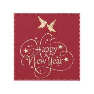 Happy New Year Custom Wood Wall Art Wood Prints