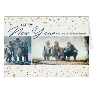 Happy New Year Gold Stars   2 Photos Card