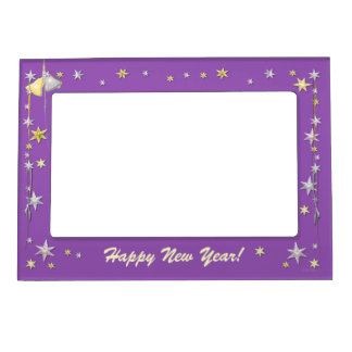 Happy New Year Stars on Purple Magnetic Picture Frame