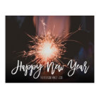 Happy New Year typography sparkles photo Postcard
