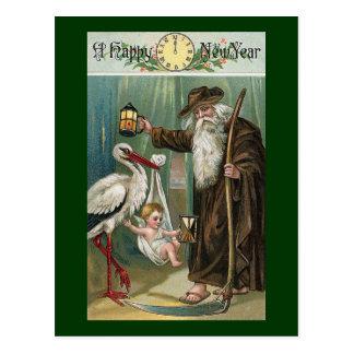 Happy New Year Vintage Postcard
