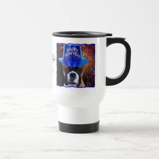 Happy new years boxer dog travel mug