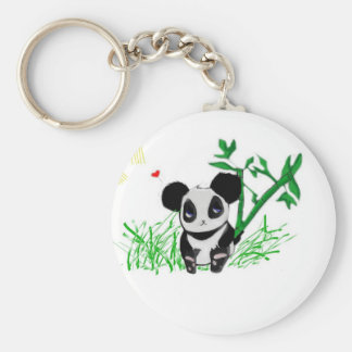 Happy Panda Bamboo Basic Round Button Key Ring