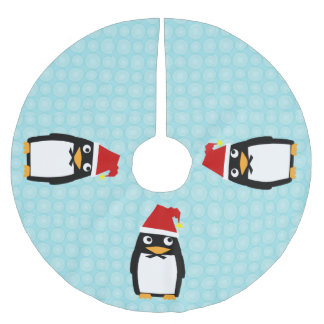 Happy Penguin with Santa Hat Brushed Polyester Tree Skirt