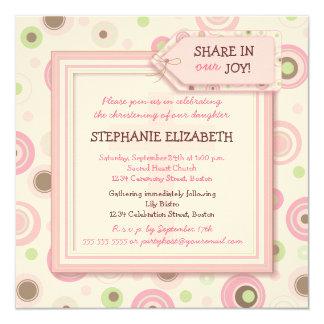 Happy Pink Dots Baby Girl Christening Invitation