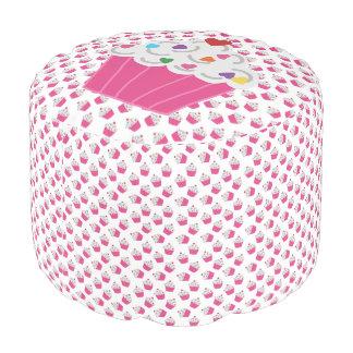Happy Pink Heart Cupcakes - Sweet Bakery Pattern Pouf