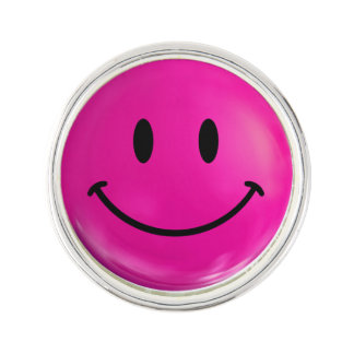 Happy Pink Smiley Lapel Pin