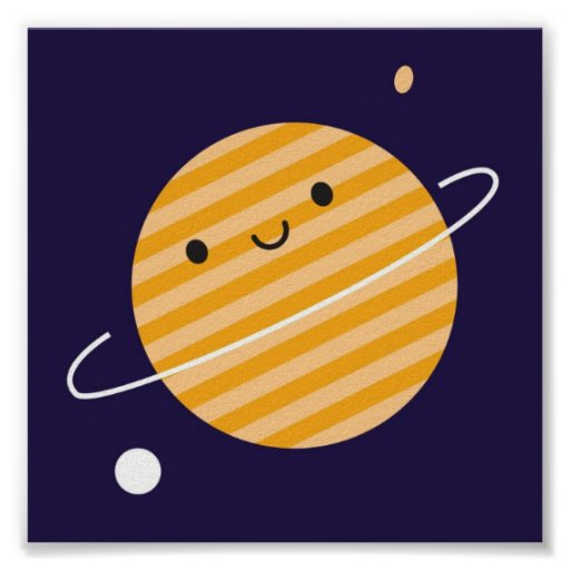 Happy Planet in Space Print