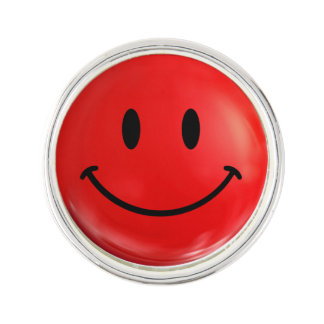 Happy Red Smiley Lapel Pin