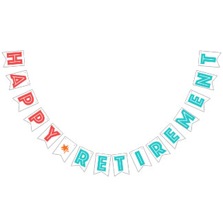 HAPPY RETIREMENT Coral Red, Turquoise, Orange Star Bunting