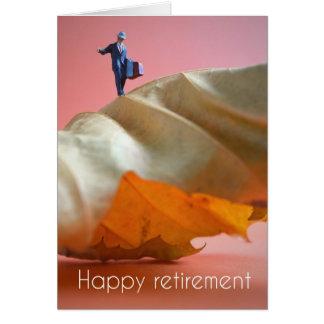 Happy retirement - man on a leaf card