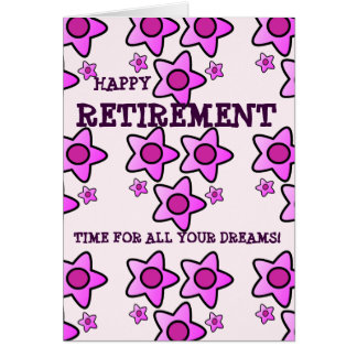 Happy retirement pink flowers time for all dreams card