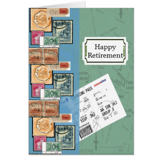 Happy Retirement Stamps of the World Card