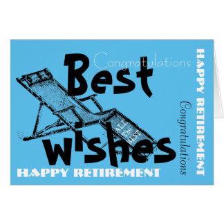 Happy Retirement with Retro Deckchair Blue 2 Card