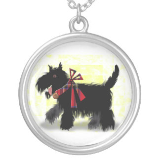 happy scotty dog silver plated necklace