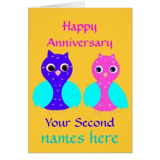 Happy Second Anniversary Cute Owl Couple Customize Cards