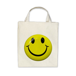 Happy Smiley Face Grocery Tote Bag