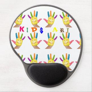 Happy smiling finger painted kids hands art gel mouse pad