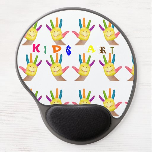 Happy smiling finger painted kids hands art gel mouse mat