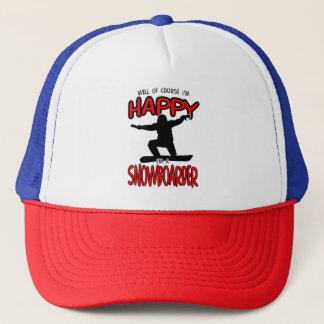 Happy SNOWBOARDER (Black) Trucker Hat