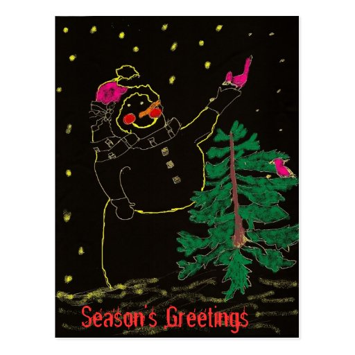 Happy Snowman with Christmas Tree Postcards