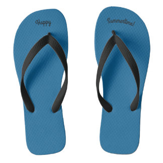 Happy Summertime Solid Ocean Blue W Wide Blk Strap Jandals