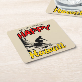 Happy Surfer HAWAII (blk) Square Paper Coaster