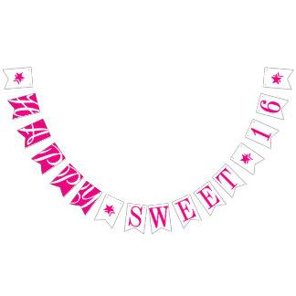 HAPPY SWEET 16 Hot Pink Birthday Decor Bunting