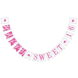 HAPPY SWEET 16 Pink Birthday Decor Bunting