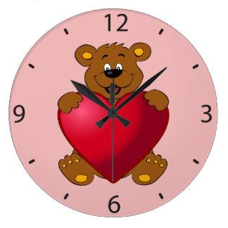 Happy teddybear with heart cartoon wall clock