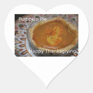 Happy Thanksgiving And Pumpkin Pie Heart Sticker