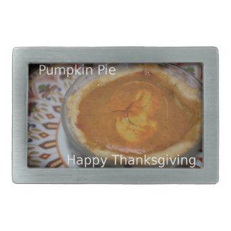 Happy Thanksgiving And Pumpkin Pie Rectangular Belt Buckle