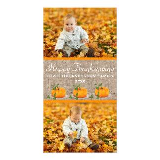 Happy Thanksgiving Burlap 2 Photos - Photo Card