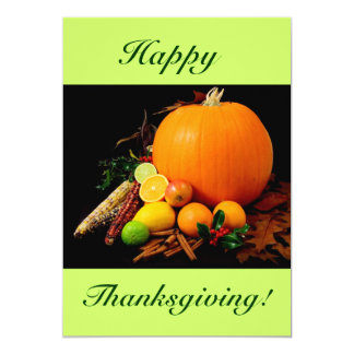"""Happy Thanksgiving IV With Pumpkin And Fruit 5"""" X 7"""" Invitation Card"""