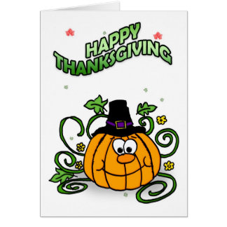 Happy Thanksgiving, Pumpkin Pilgrim Card