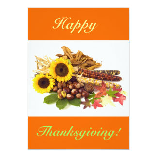 Happy Thanksgiving Sunflowers V 5x7 Paper Invitation Card