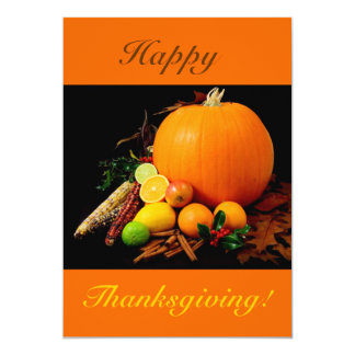 Happy Thanksgiving V With Pumpkin And Fruit 13 Cm X 18 Cm Invitation Card