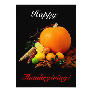 Happy Thanksgiving With Pumpkin And Fruit Card