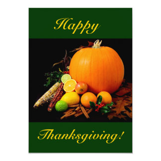 Happy Thanksgiving With Pumpkin And Fruit I Card