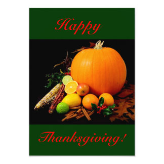 """Happy Thanksgiving With Pumpkin And Fruit I 5"""" X 7"""" Invitation Card"""