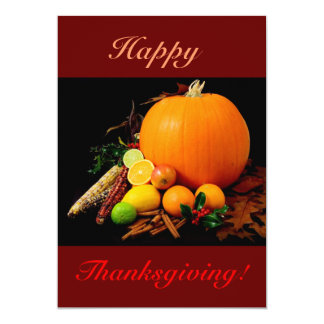 """Happy Thanksgiving With Pumpkin And Fruit II 5"""" X 7"""" Invitation Card"""