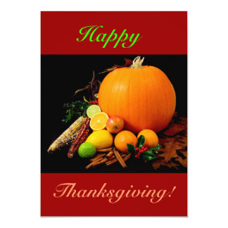 Happy Thanksgiving With Pumpkin And Fruit II 13 Cm X 18 Cm Invitation Card