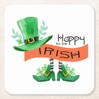 Happy To Be Irish Top Hat Square Paper Coaster