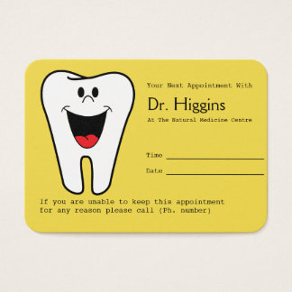 Happy Tooth Dentist Appointment Reminder Yellow Business Card