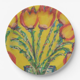 Happy Tulips Paper Plate