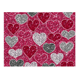 Happy Valentine's Day Glitter Love Bling Hearts Postcard