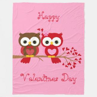 Happy Valentines Day Owls Fleece Blanket