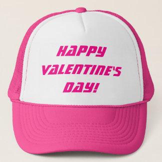 Happy Valentine's Day Pink & White Hat