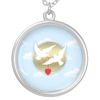 Happy Valentine's Day with white doves love heart Round Pendant Necklace